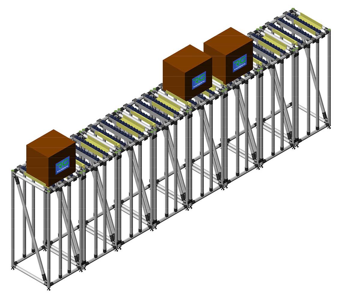 POSTAZIONE (SETTORE MANIFATTURIERO) Strutture lean statiche in alluminio per confezionamento scatole ed asservimento linea automatica.