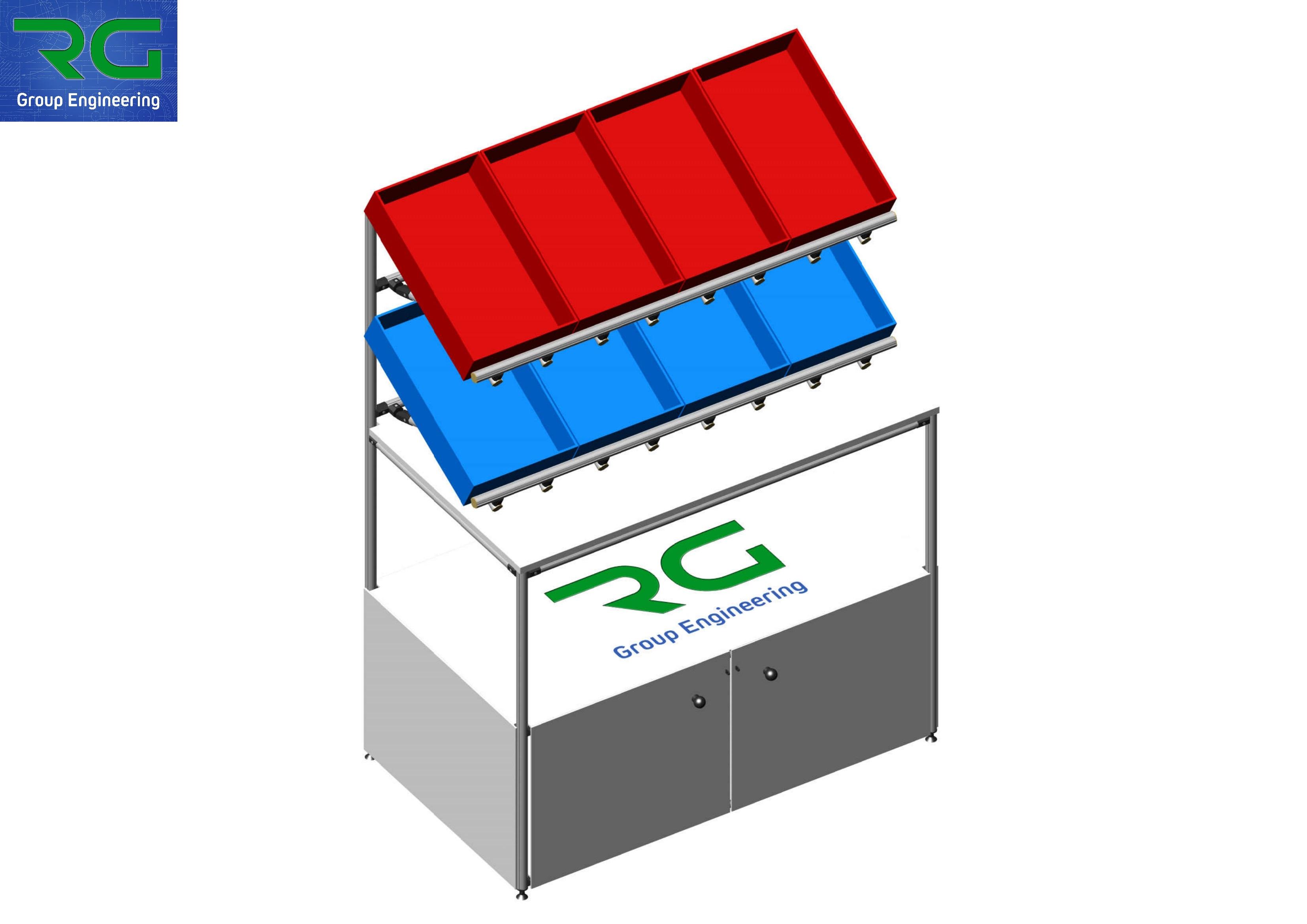 BANCO (SETTORE FARMACEUTICO) Struttura lean statica in alluminio con armadiatura lucchettabile per confezionamento scatole.