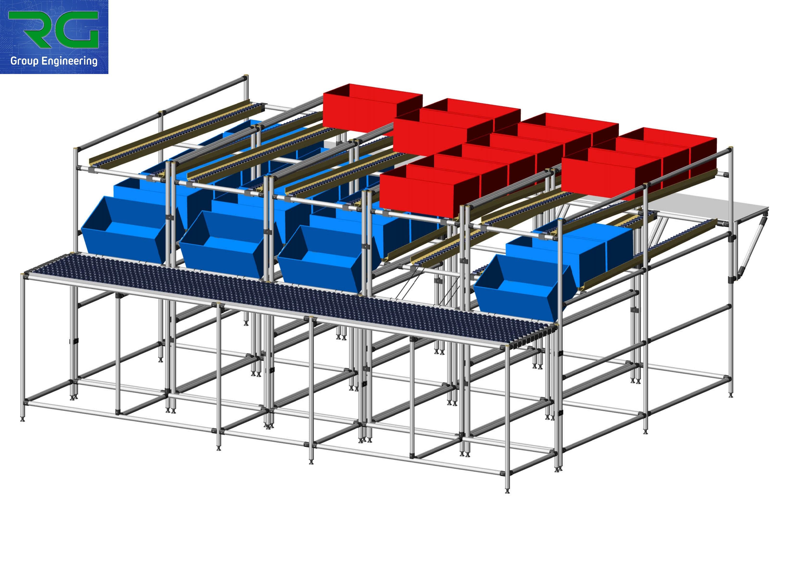 ISOLA DI LAVORO (SETTORE FARMACEUTICO) Struttura lean statica in alluminio con banco operatore a rulli e piani basculanti per confezionamento scatole.