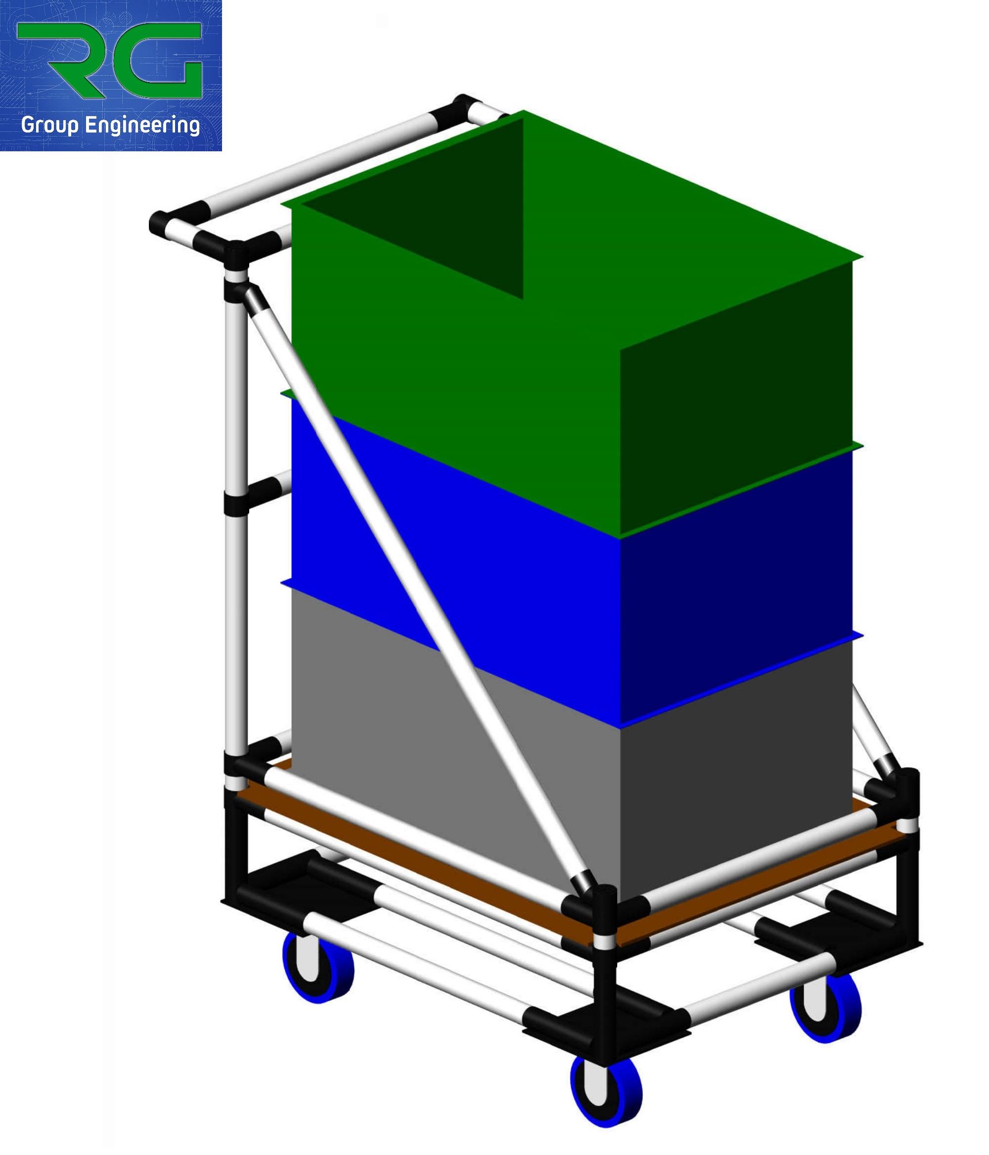 CARRELLO (SETTORE AUTOMOTIVE) Struttura lean dinamica in abs per trasporto contenitori.