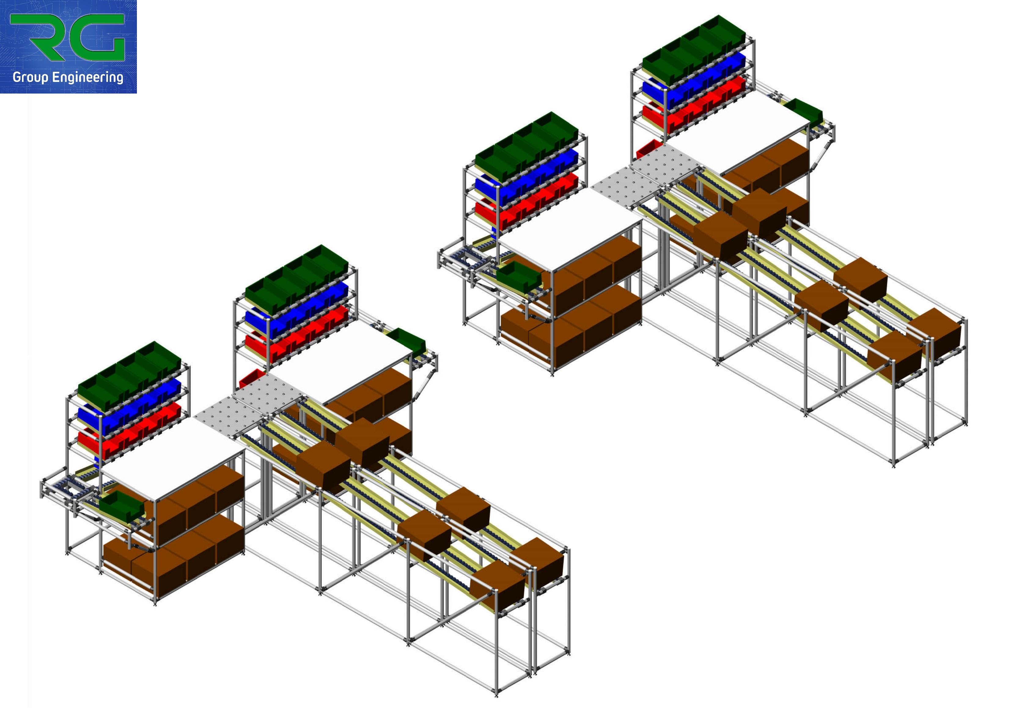 ISOLE DI LAVORO (SETTORE AUTOMOTIVE) Strutture lean statiche in alluminio per assemblaggio componenti e confezionamento scatole.
