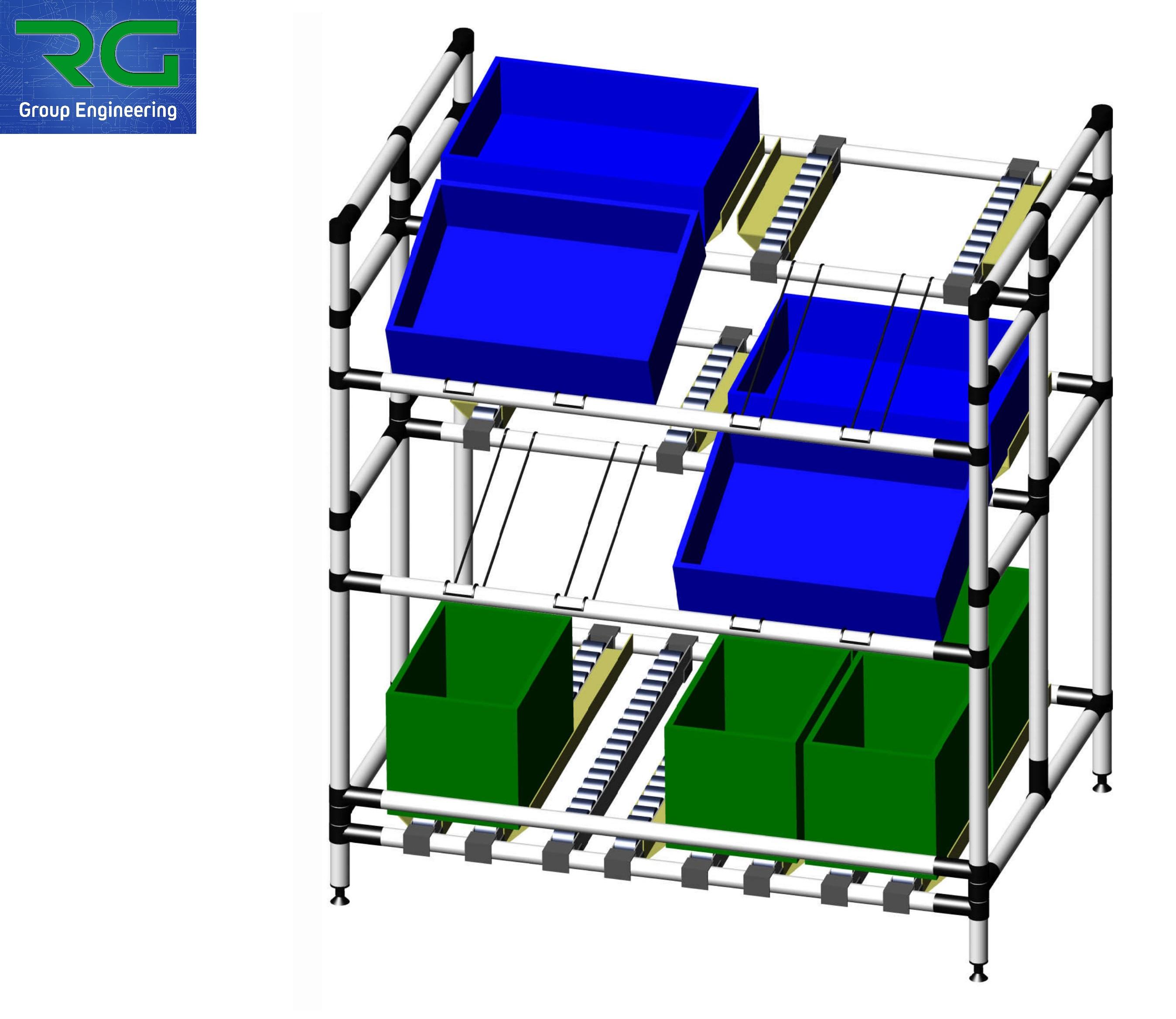 SCAFFALE MARKET (SETTORE AUTOMOTIVE) Struttura lean statica in abs per stoccaggio contenitori