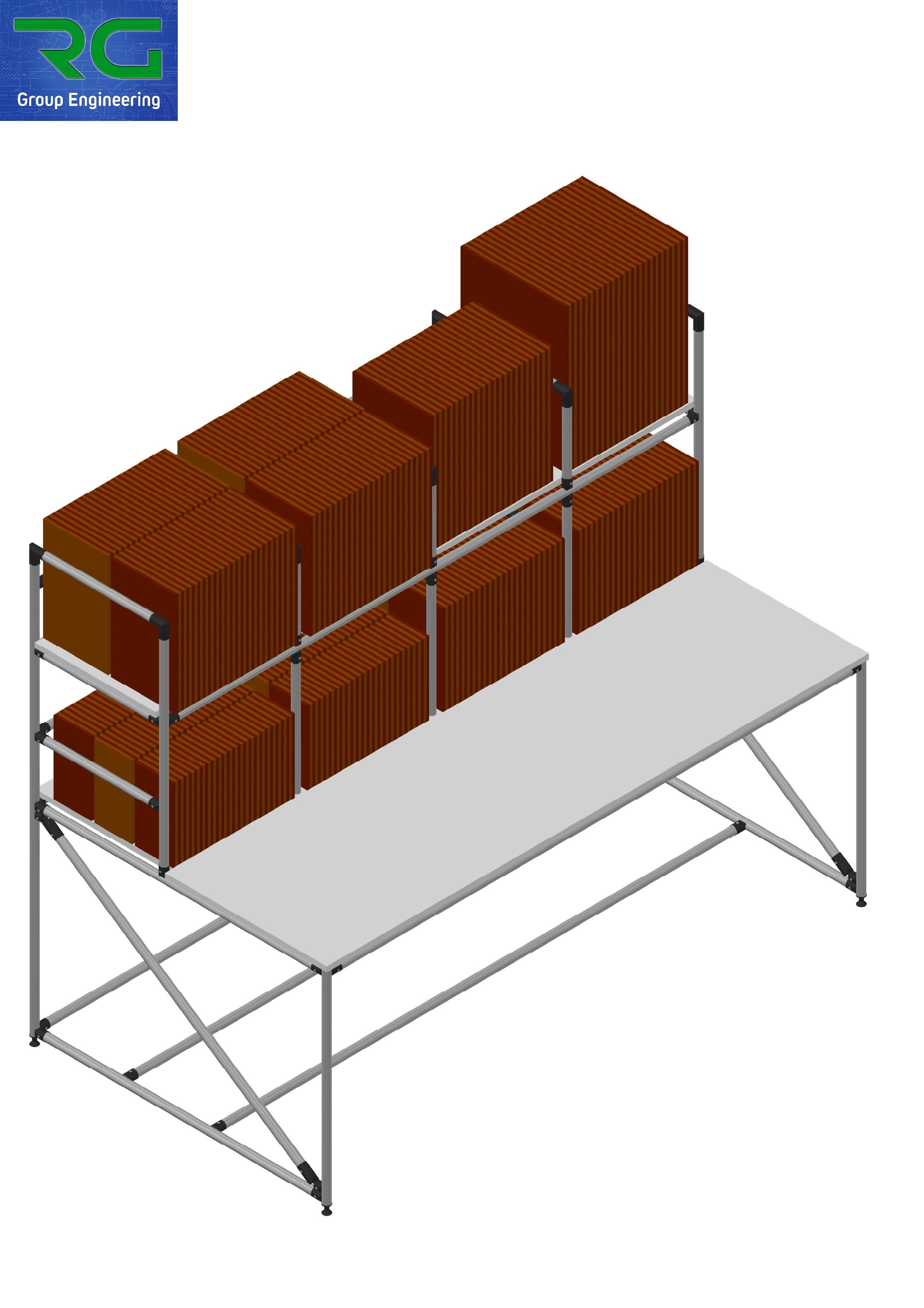 BANCO (SETTORE MANIFATTURIERO) Struttura lean statica in alluminio per stoccaggio e preparazione buste.