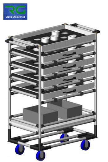 CARRELLO (SETTORE MANIFATTURIERO) Struttura lean dinamica in alluminio con cassetti estraibili ed alloggiamenti per trasporto contenitori / dime.