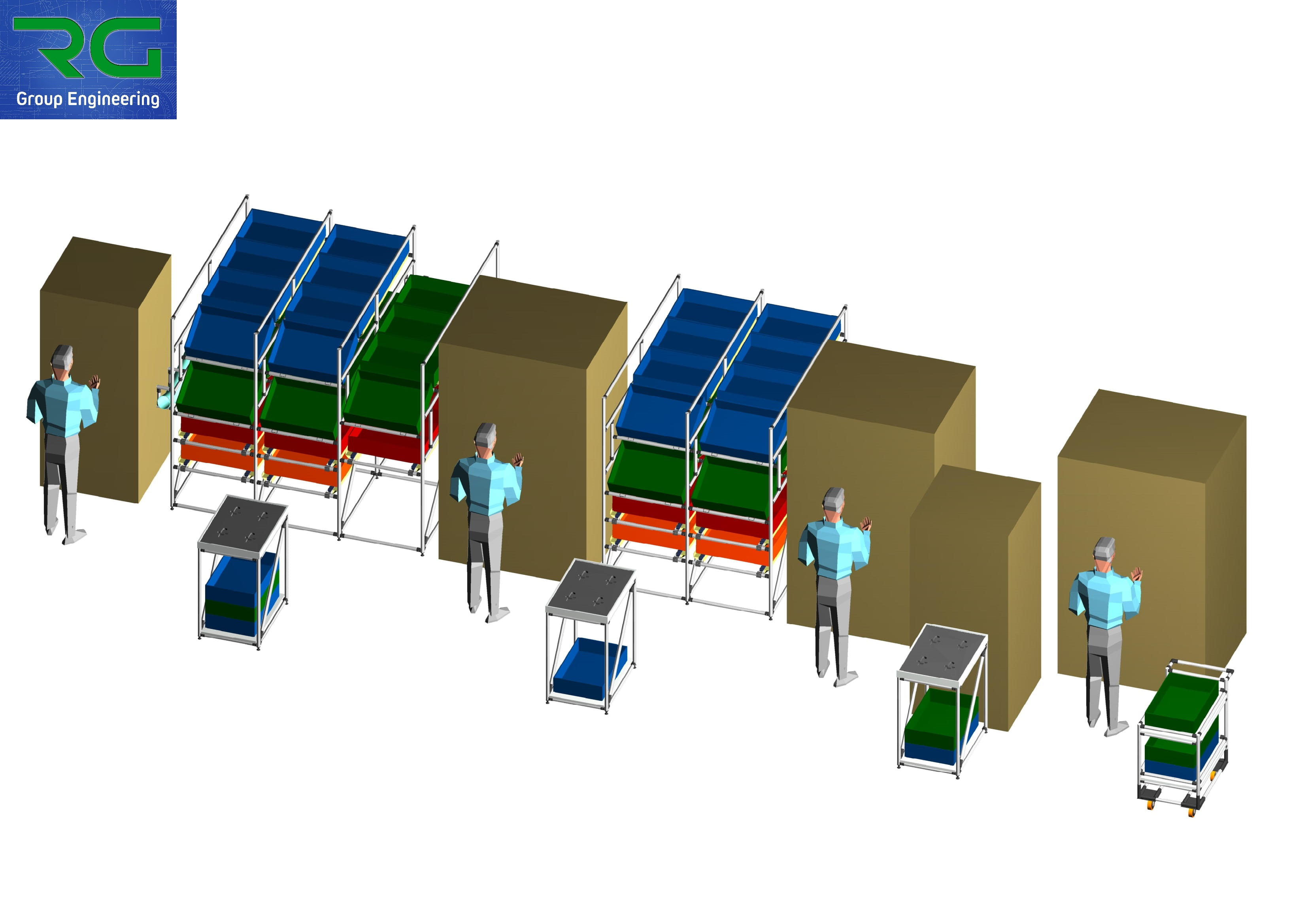 ISOLA DI LAVORO (SETTORE AUTOMOTIVE) Strutture lean statiche e dinamiche in alluminio per assemblaggio e trasporto componenti.