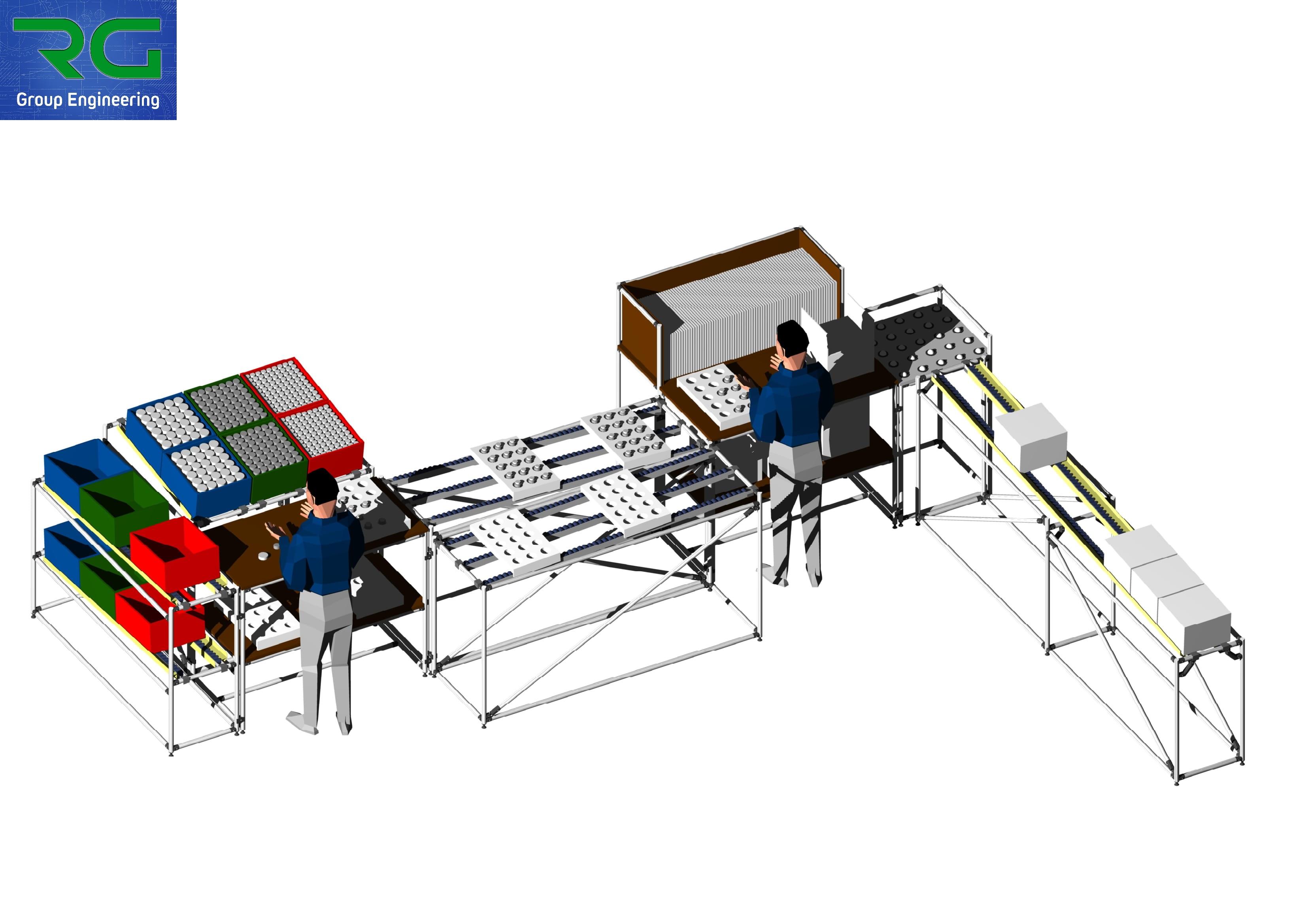 ISOLA DI LAVORO (SETTORE AUTOMOTIVE) Strutture lean statiche in alluminio per assemblaggio componenti e confezionamento scatole.