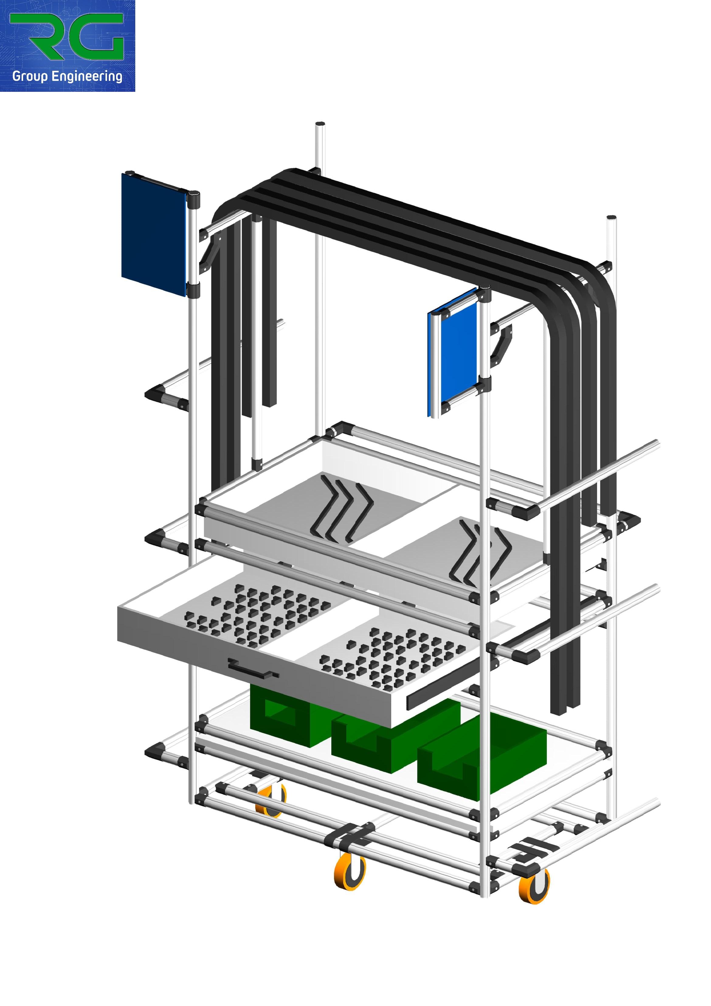 CARRELLO (SETTORE AUTOMOTIVE) Struttura lean dinamica in alluminio per trasporto tubazioni, raccorderia ed accessoristica.