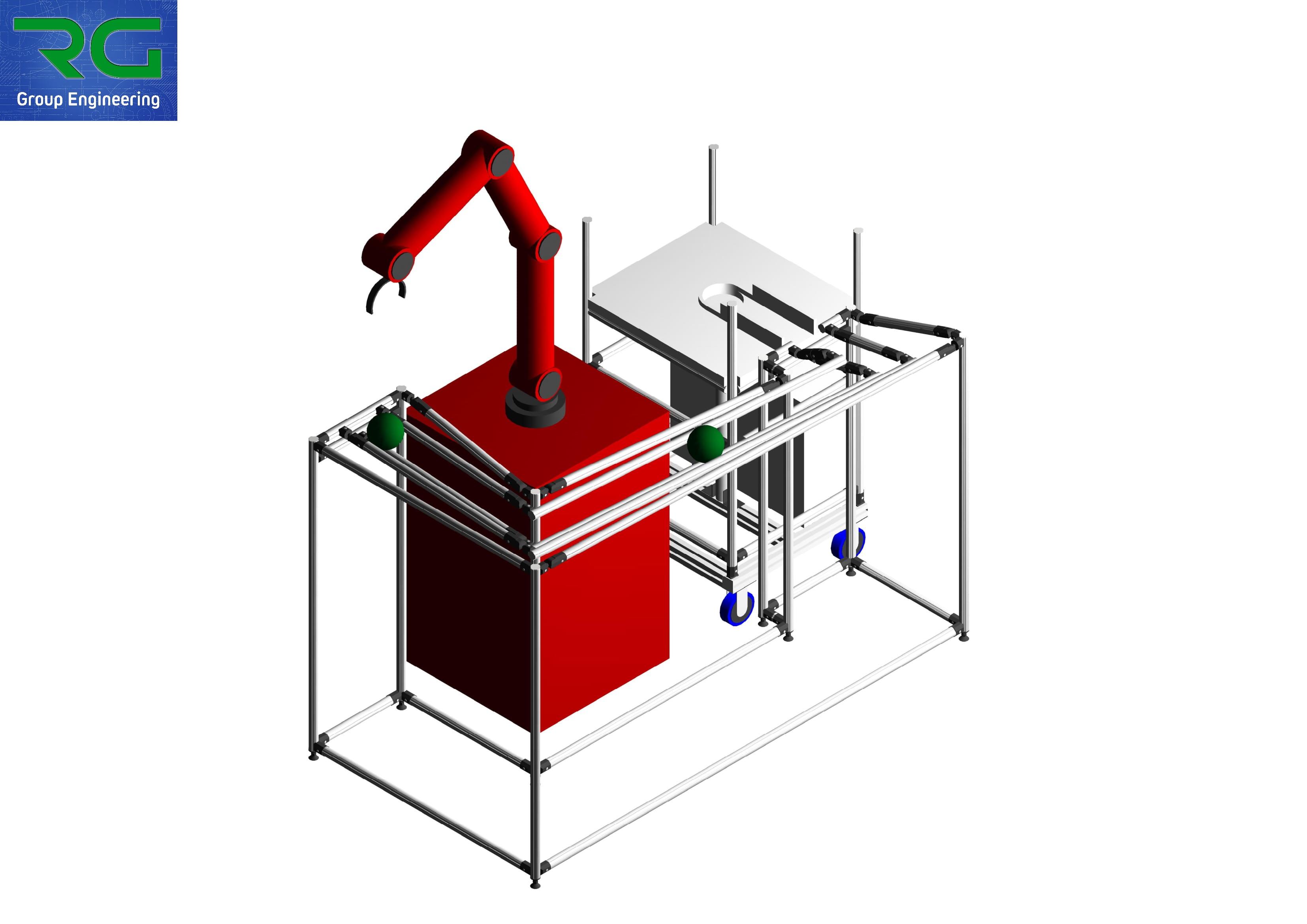 POSTAZIONE INTEGRATA Struttura lean in alluminio presentata in occasione della fiera SPS Parma 2019. Struttura statica + struttura dinamica con asservimento automatico dotata di sicurezze e loro monitoraggio + cobot integrato