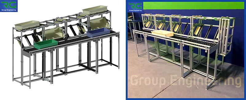 Struttura tubolare lean in alluminio (SETTORE FARMACEUTICO). Isola di lavoro con postazioni modulari singole in testata e postazione modulare doppia centrale, per lavorazione ed inscatolamento prodotti.