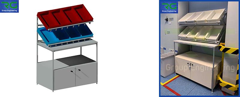 Struttura tubolare lean in alluminio (SETTORE FARMACEUTICO). Banco lavoro con armadiatura lucchettabile per controllo qualità e scarto prodotto.