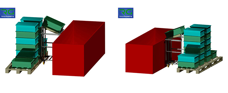 Struttura tubolare lean in alluminio (SETTORE ALIMENTARE). Carrello per svuotamento contenitori in vasca/macchinario per imbustamento prodotti.