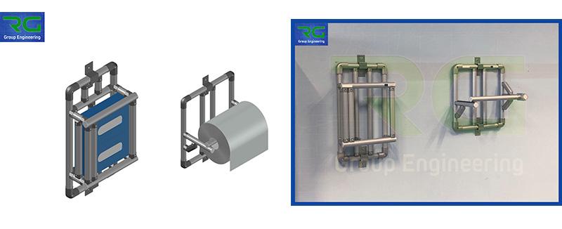 Strutture tubolari lean in alluminio (SETTORE FARMACEUTICO). Dispenser porta scatole fazzoletti/guanti e porta rotolo telini