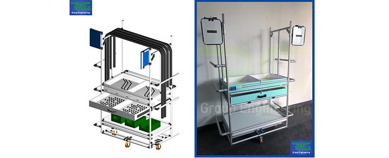Struttura tubolare lean in alluminio (SETTORE AUTOMOTIVE). Carrello per trasporto kit corrugati, raccorderia ed accessoristica.
