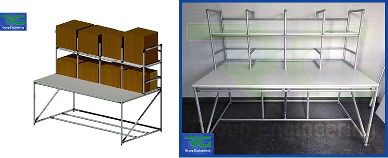 Struttura tubolare lean in alluminio (SETTORE MANIFATTURIERO). Banco lavoro per imbustamento/inscatolamento prodotti e preparazione spedizioni