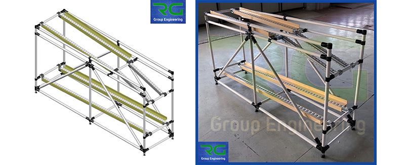 Struttura tubolare lean in abs (SETTORE AUTOMOTIVE). Rulliera per presentazione contenitori ad operatore.