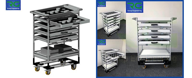 Struttura tubolare lean in alluminio (SETTORE MANIFATTURIERO). Carrello con cassetti estraibili ed alloggiamenti per trasporto dime.
