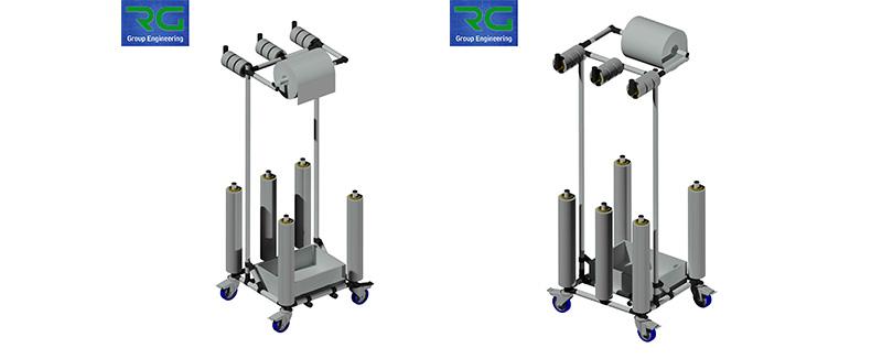 Struttura tubolare lean in abs. Carrello per trasporto kit essenziale imballaggio/pulizia.