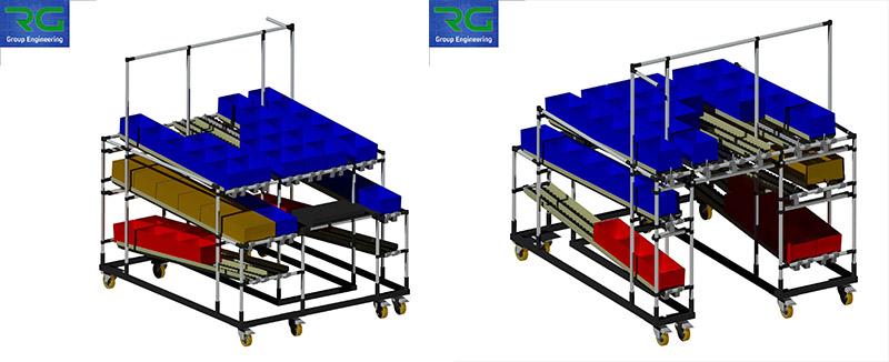 Struttura tubolare lean in abs (SETTORE AUTOMOTIVE). Postazione di lavoro, con base in carpenteria verniciata su ruote, per presentazione contenitori ad operatore con sistema integrato pick to light.