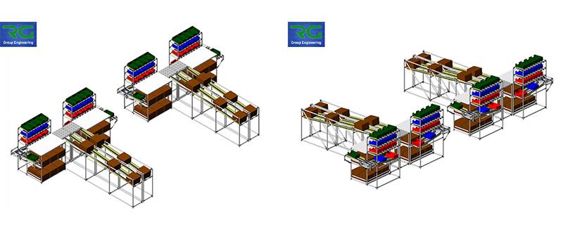 Strutture tubolari lean in alluminio (SETTORE AUTOMOTIVE). Isole di lavoro per assemblaggio componenti ed imballaggio per preparazione spedizioni.