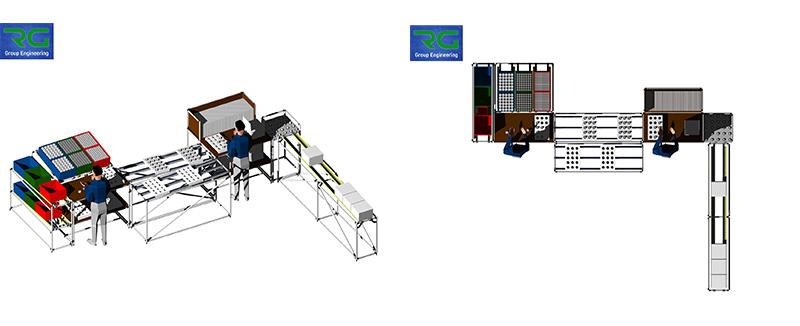 Struttura tubolare lean in alluminio (SETTORE AUTOMOTIVE). Isola di lavoro per assemblaggio componenti ed imballaggio per preparazione spedizioni.