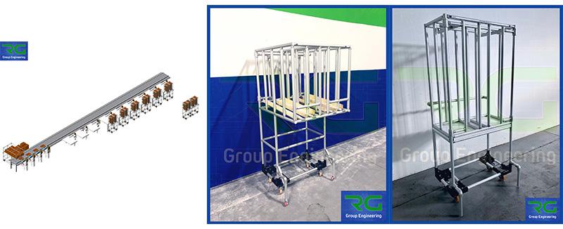 Strutture tubolari lean in alluminio (SETTORE ALIMENTARE). Carrelli per asservimento coperchi e fondi scatole per confezionamento prodotti.