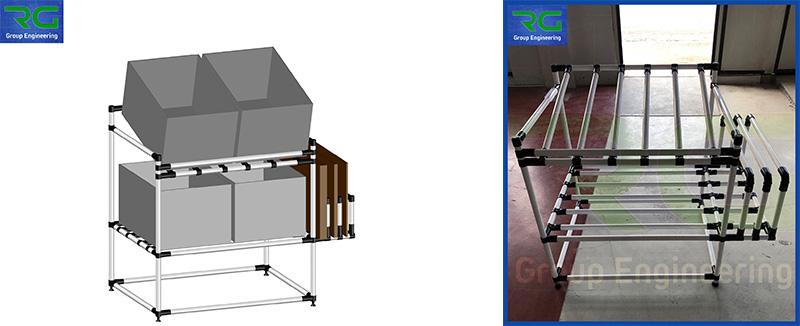 Struttura tubolare lean in abs (SETTORE AUTOMOTIVE). Leggio per presentazione contenitori ad operatore e stoccaggio vassoi laterali.