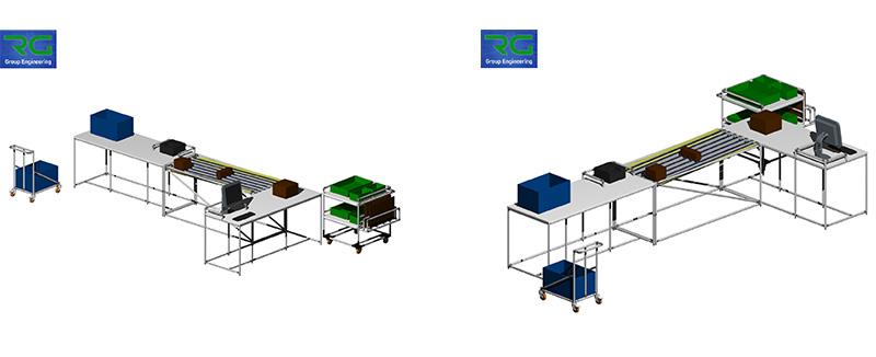 Struttura tubolare lean in alluminio (SETTORE MANIFATTURIERO). Isola di lavoro per assemblaggio kit ed imballaggio per preparazione spedizioni.